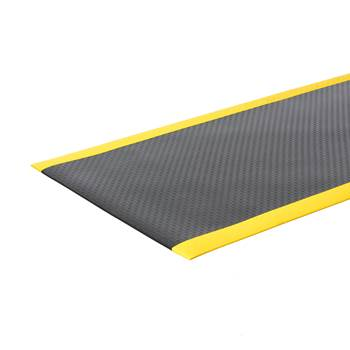 Safe work-station mat, full roll, 1220x18300 mm, black, yellow