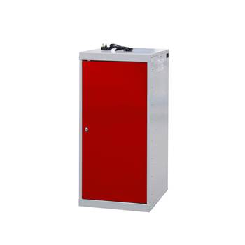 Charging laptop cabinet, 1 door, 1000x500x500 mm, red