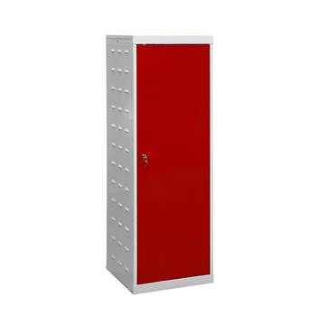Charging laptop cabinet, 1 door, 1460x500x500 mm, red