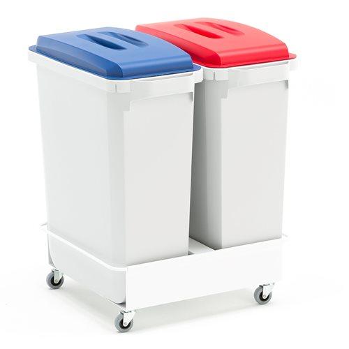 2 st avfallsbehållare Röd / Blå + vagn