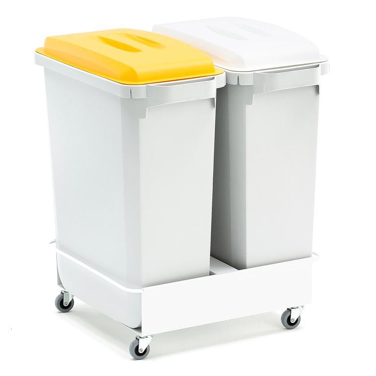 2 st avfallsbehållare Vit / Gul + vagn
