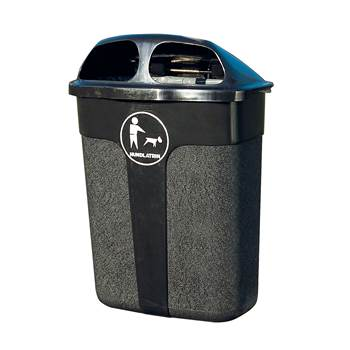Dog waste bin for wall/post fixing: 60L: black