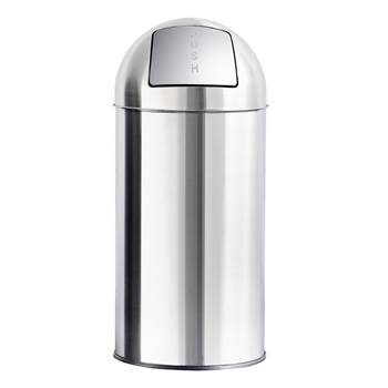 Refuse bin, push lid, Ø 350x730 mm, 40 L, stainless steel