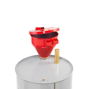Metal drum funnel with self-closing lid