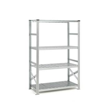 Galvanised shelving with sump tray, basic unit, 19792x1200x600 mm, 29 L
