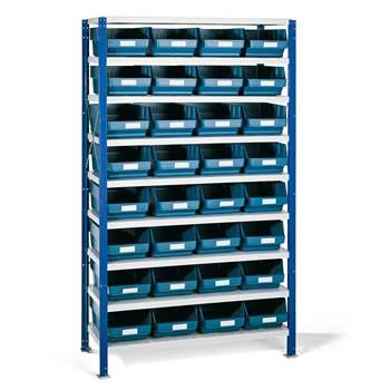 Smådelsreol, 1740x1000x400 mm, blå plastbakker