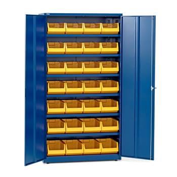 Komplett maskinskap, 6 hyller, 28 plastbakker, 1900x1020x500 mm, blå