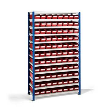 Smådelshylle Mix, 88 bokser, 1740x1065x300 mm, røde bokser