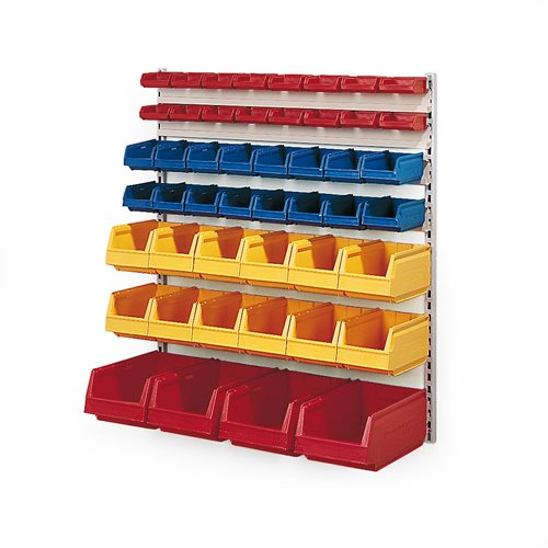 Wall rack with small parts bins