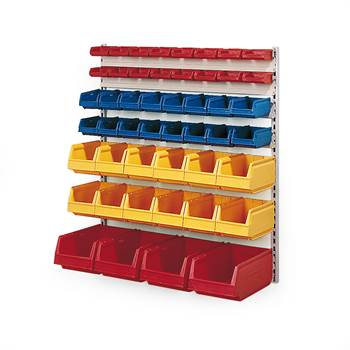 Wall rack + 48 small parts bins