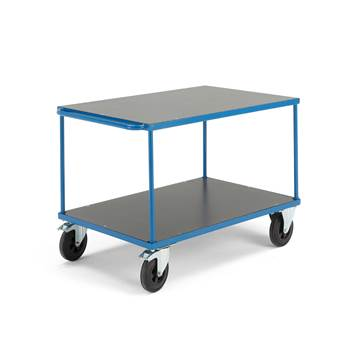 Platform trolley, 2 shelves, brakes, rubber wheels, 800x1200 mm
