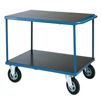 Durable tray trolley, no brakes, 350 kg load, 1000x500x840 mm