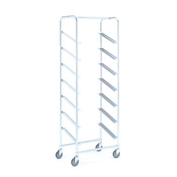 Tray trolley without bins, for 7 trays, 1850x660x410 mm