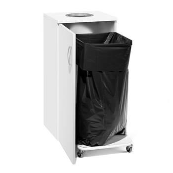 Källsorteringsskåp för sopsäckshållare, vit laminat