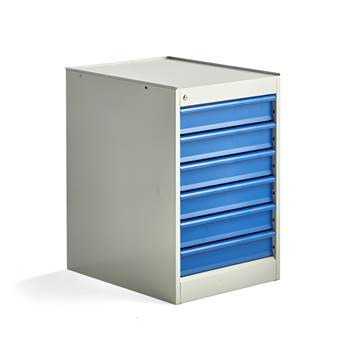Elite drawer unit, static, 6 drawers, 800x520x665 mm