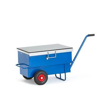 Wózek narzędziowy skrzynia o poj 160 l, 2 koła pneumatyczne