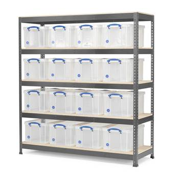 #en Shelf 1 section with 16 plastic boxes
