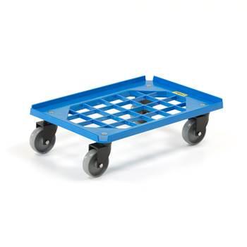 Wózek plastikowy, ładowność 250 kg, 620x420 mm, 4 kółka skrętne