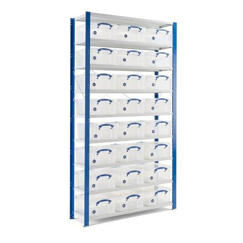 Komplett lagerhylla med 24 backar