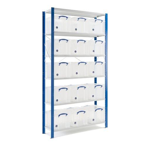 Komplett lagerhylla med 15 backar
