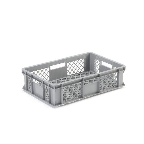 Elintarvikehyväksytty muovilaatikko, harmaa, 600x400x150 mm