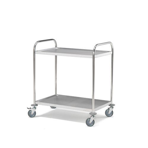 Wózeki z półkami ze stali nierdzewnej bez boków