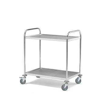 2 shelf stainless steel trolley, 100 kg load, no rail, 910x590x940 mm