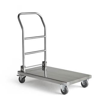 Collapsible stainless steel trolley, 100 kg load, 820x510x970 mm