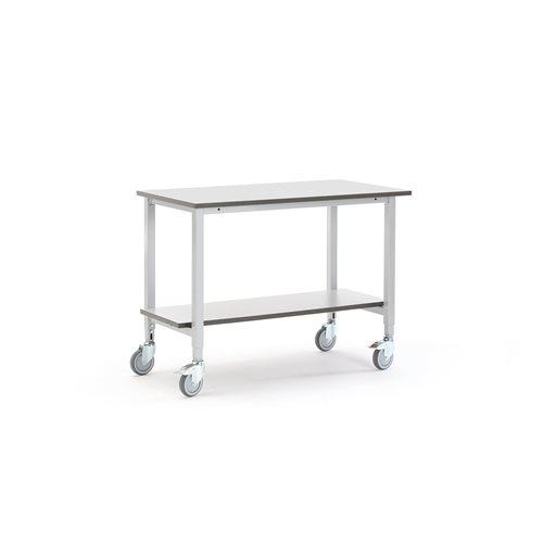 Työpöytä pyörillä ja alahyllyllä, Pituus (mm):1200, Leveys (
