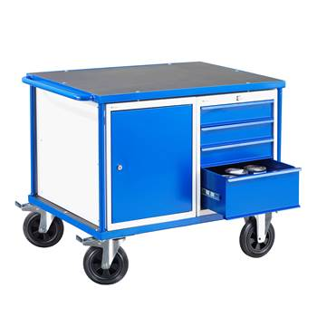 Workshop trolley, 1 cabinet + 1 drawer unit, 300 kg load, 875x1000x700 mm