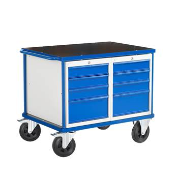 Workshop trolley, 2 drawer units, 300 kg load, 875x1000x700 mm