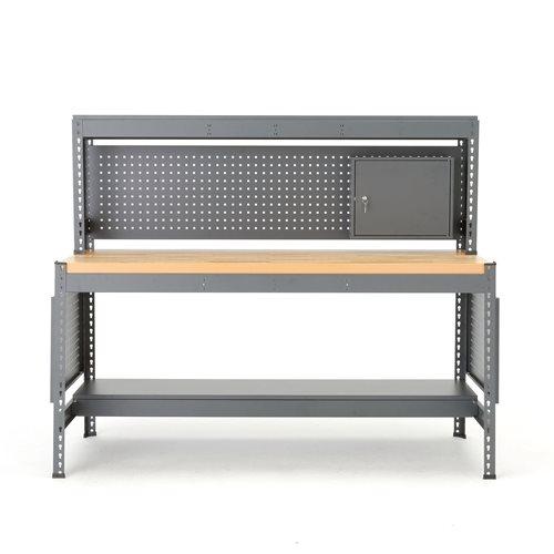 Työpöytä Combo, työkalupaneeli ja valo, tammiparketti, 1530x