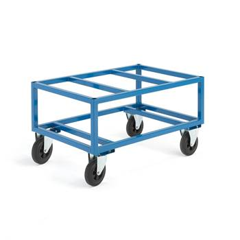 Pallet trolley, 500 kg load, Ø 200 mm rubber wheels, 1200x800x655 mm