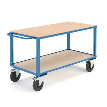 Workshop trolley, brakes, 2 castor wheels, 600 kg load, 1400x700x830 mm