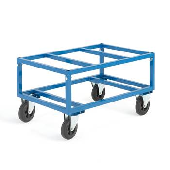 Adjustable pallet trolley, Ø 200 mm rubber wheels, 500 kg load, no brakes