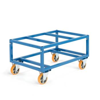 Adjustable pallet trolley, Ø 160 mm PU wheels, 1000 kg load, no brakes
