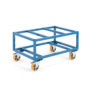 Pallet trolley, 1000 kg load, Ø 160 mm PU wheels, brakes, 1200x800x625 mm