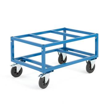 Adjustable pallet trolley, Ø 200 mm rubber wheels, 500 kg load, brakes