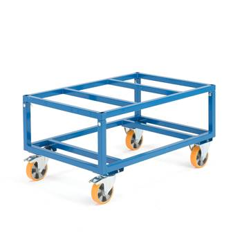 Adjustable pallet trolley, Ø 160 mm PU wheels, 1000 kg load, brakes