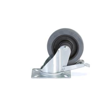 Koła z miękkiej gumy, Ø125x40, Samonastawne z hamulcem