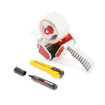 #en Moving- and packagingkit w. tape, tape holder, knife and marker pen