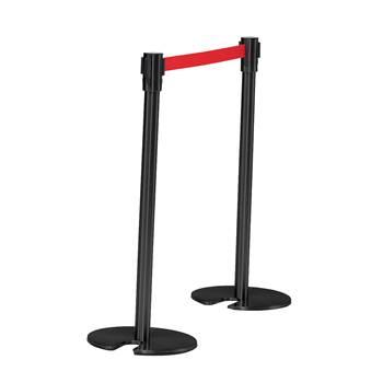 Avspärrning, stolpe med band, svart/röd