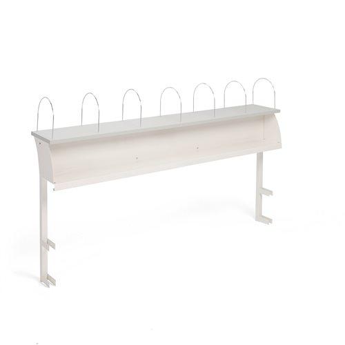 Ylähylly työpöytään, 7 välijakajaa, 2400 mm, valkoinen, harmaa levy