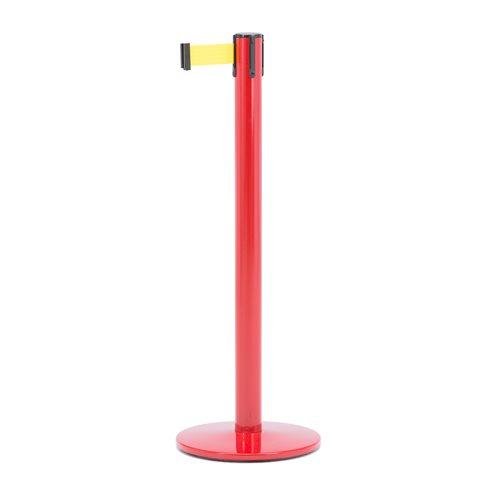 Słupek z taśmą, długość: 3650 mm, czerwony, żółty