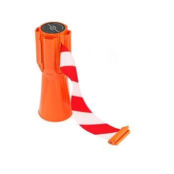 Rullband för avspärrningskoner, 3650 mm, orange, röd/vit