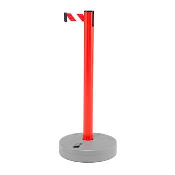 Avsperringsbånd på stolpe, vanntanksfot, 3,65 meter, rød stolpe / rødt og h