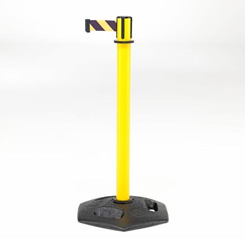 Żółty słupek odgradzający z gumowaną żeliwną podstawą
