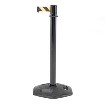 Avspärrningsband på stolpe och gummerad gjutjärnsfot, svart, gul/svart