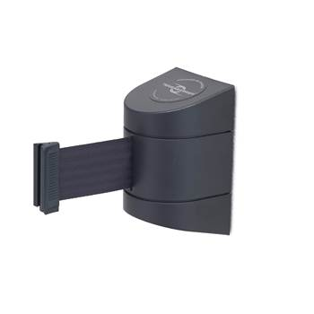 Outdoor wall-mounted belt barrier, L 7700 mm, black