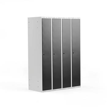 Clothes locker, 4 modules, 1740x1200x550 mm,black